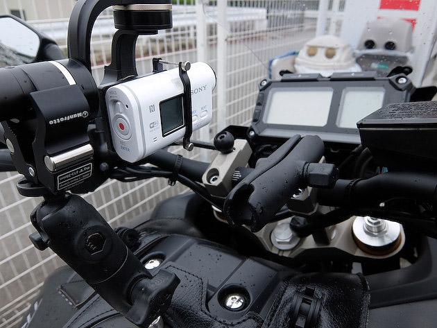 Feiyu 3軸ジンバル&アクションカムをバイクに設置完了